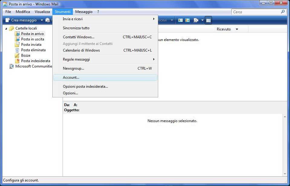 Configurazione Posta Elettronica Weblink S R L